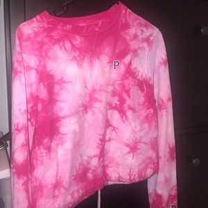 Pink tie dye cropped